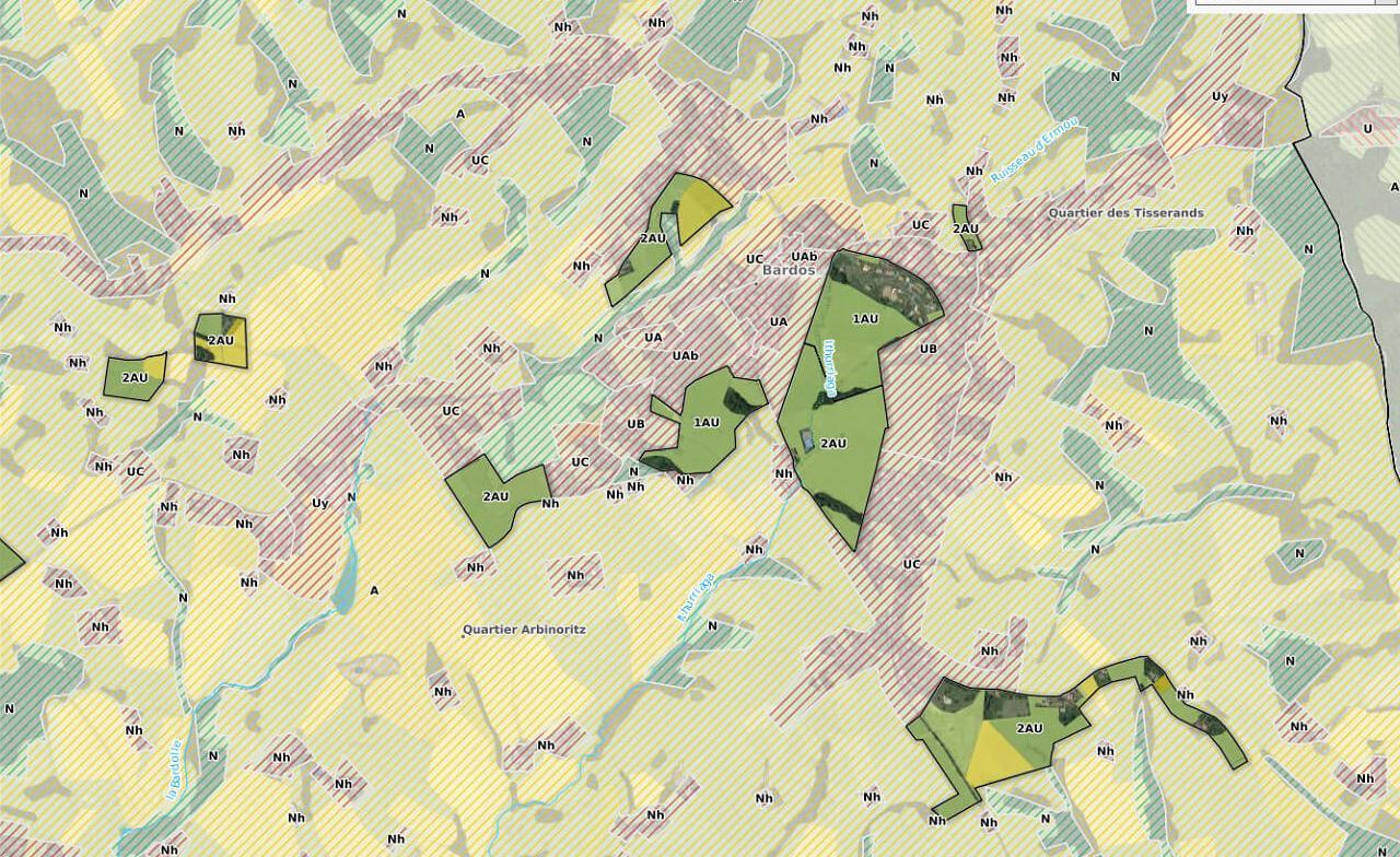 Analyse croisée du zonage avec les pratiques agricoles sur les zones soumises au risque inondation (Communauté de commune du pays de Bidache).
